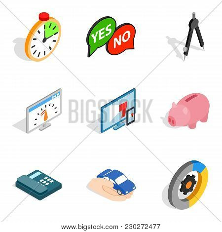 Concept Idea Icons Set. Isometric Set Of 9 Concept Idea Vector Icons For Web Isolated On White Backg