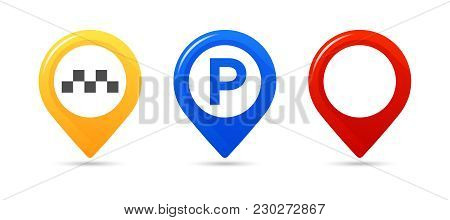 Colourful Map Pointers. Map Pointer, Map Parking Pointer, Map Taxi Pointer. Vector Icons