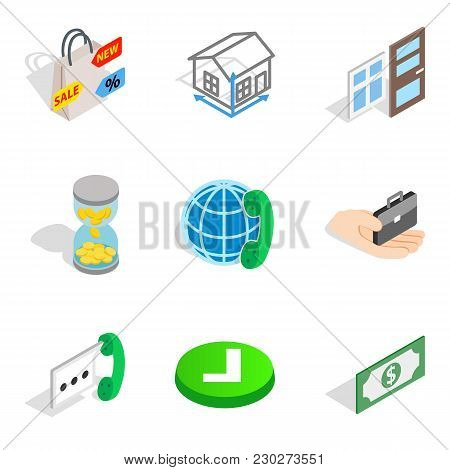 Contractor Icons Set. Isometric Set Of 9 Contractor Vector Icons For Web Isolated On White Backgroun