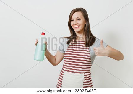 Housewife In Striped Apron Looking Camera Isolated On White Background. Housekeeper Woman Showing Th
