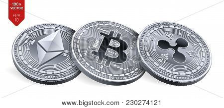 Bitcoin. Ripple. Ethereum. 3d Isometric Physical Coins. Digital Currency. Cryptocurrency. Silver Coi