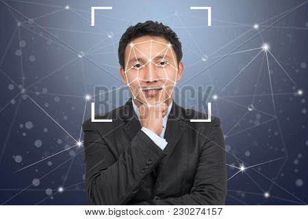 Businessman Face Detection And Recognition, Biometric Verification,  Computer Vision And Artificial