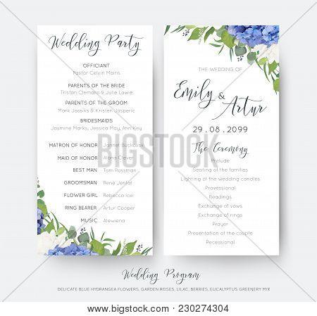 Wedding Floral Wedding Party & Ceremony Program Card Design With Elegant Blue Hydrangea Flowers, Whi