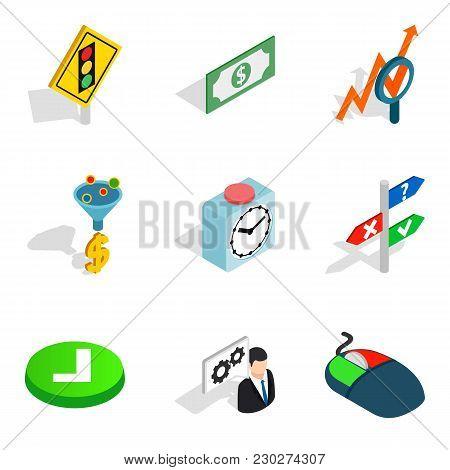 Measuring Device Icons Set. Isometric Set Of 9 Measuring Device Vector Icons For Web Isolated On Whi