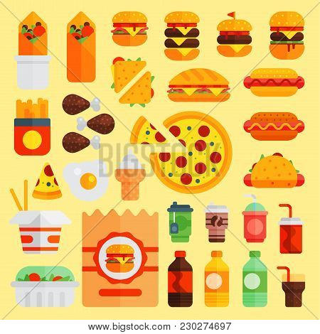 Cartoon Fast Food Vector Cuisine Burger And Pizza, Drinks Icons Isolated On Background Restaurant Ta