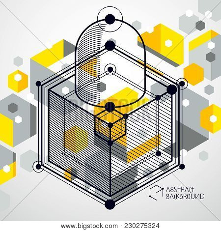 Lines And Shapes Abstract Vector Isometric 3D Yellow Background. Abstract Scheme Of Engine Or Engine