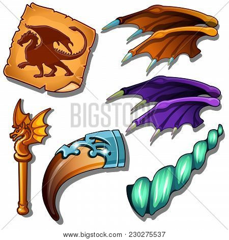 The Attributes On The Dragon Isolated On White Background. Vector Cartoon Close-up Illustration.