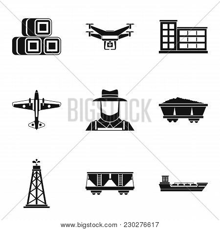 Branch Of Production Icons Set. Simple Set Of 9 Branch Of Production Vector Icons For Web Isolated O