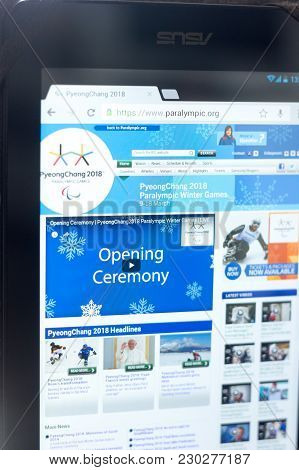 Ryazan, Russia - March 09, 2018: Paralympic Games Movement Homepage On Display Of Tablet Pc