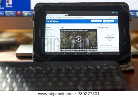 Ryazan, Russia - March 09, 2018: Facebook Page Of Paralympic Games At Pyeong Chang At Tablet Pc Disp