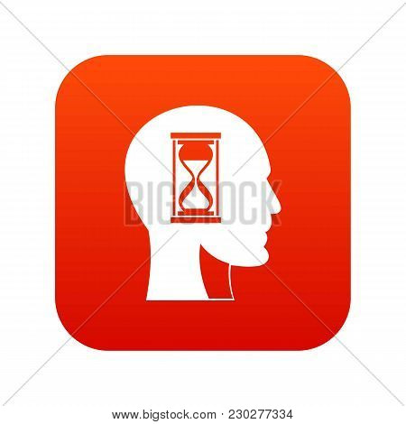 Hourglass In Head Icon Digital Red For Any Design Isolated On White Vector Illustration