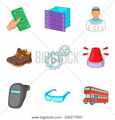 Labour Icons Set. Cartoon Set Of 9 Labour Vector Icons For Web Isolated On White Background