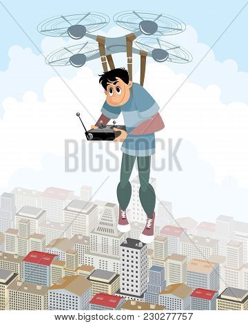 Vector Illustration Of Aeronaut On The Quadcopter