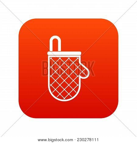 Kitchen Protective Glove Icon Digital Red For Any Design Isolated On White Vector Illustration