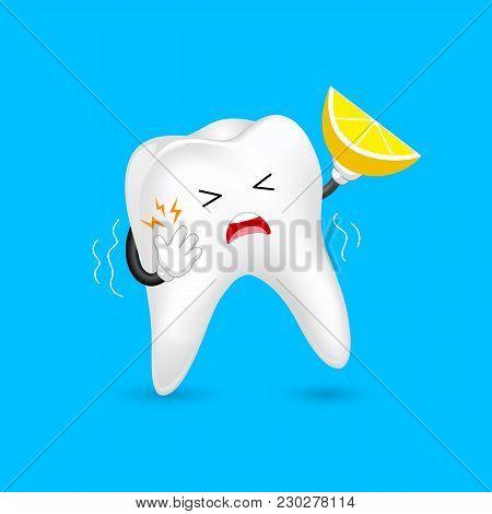 Cute Cartoon Sensitive Tooth Character Holding Lemon. Acid Sensitivity,  Dental Care Concept.  Illus