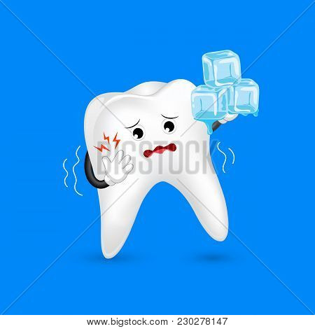 Cute Cartoon Sensitive Tooth Character Holding Ice. Cold Sensitivity,  Dental Care Concept.  Illustr