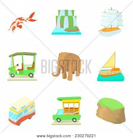 Worldwide Trip Icons Set. Cartoon Set Of 9 Worldwide Trip Vector Icons For Web Isolated On White Bac