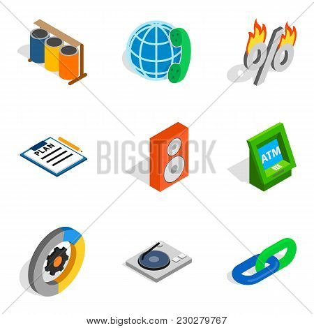 Financial Web Icons Set. Isometric Set Of 9 Financial Web Vector Icons For Web Isolated On White Bac