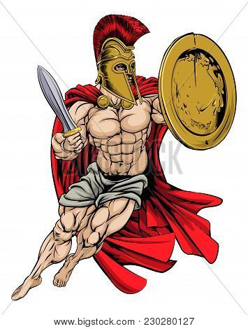 An Illustration Of A Muscular Strong Red Caped Greek Warrior