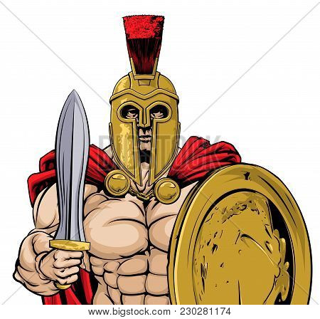 A Gladiator, Ancient Greek, Trojan Or Roman Warrior Or Gladiator Wearing A Helmet And Holding A Swor
