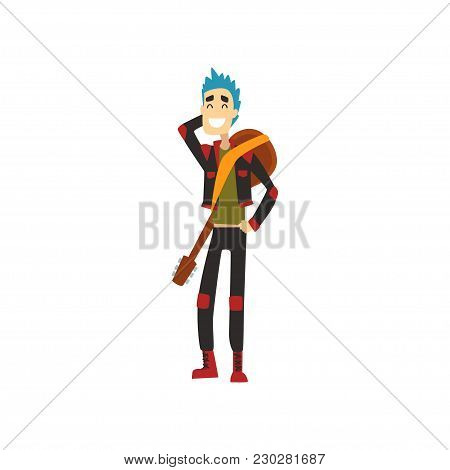 Cheerful Guy With Guitar On His Back. Funny Musician With Blue Hair Dressed In Stylish Clothes. Cart