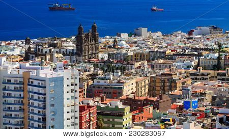 Cityscape Of Las Palmas, Dense Urban Buildings The Capital Town Of Gran Canaria Island.