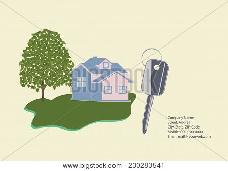 Banner Companies Selling, Buying, Leasing Real Estate - Cottage, Key, Contact Details, Tree, Lawn -