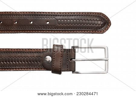 Brown Leather Belt Closeup On White Background
