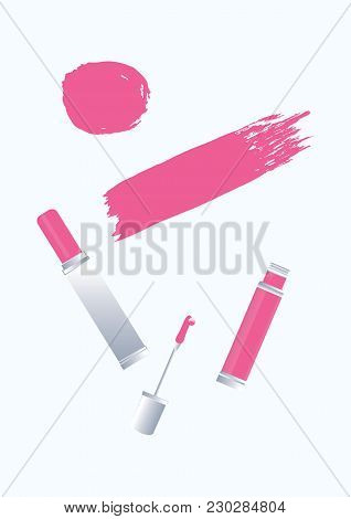 Set - Lipstick Tube, Liquid Lipstick, Watercolor Brush Stroke In Grunge Style - Pink Color On White