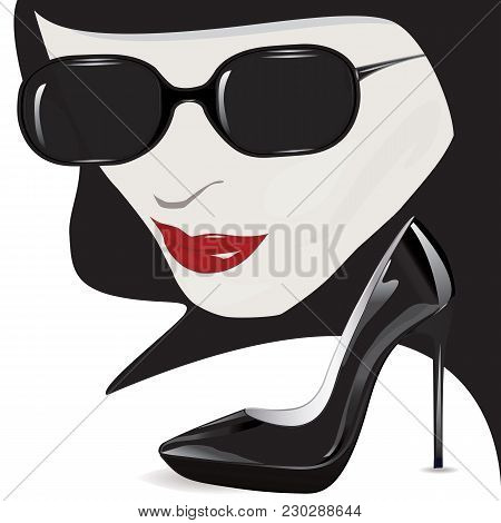 Female Face - Mysterious, Red Lips, Black Sunglasses, Lacquered High-heeled Shoes - Art Abstract Cre