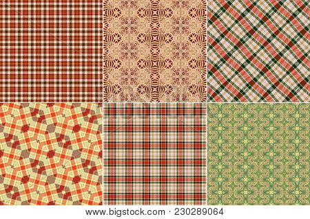 Country Vintage Checked Seamless Design. Set, Collection, Clothing Cloth Fabric Pattern.