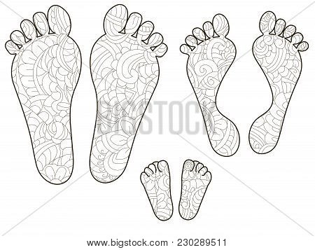 Footprints, Dad, Mom And Baby. Anti Stress Coloring, Vector Illustration For Adults