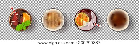 Set Of Realistic Alcoholic Drinks. Glasses Of Cocktails And Beer Isolated On Transparent Background.