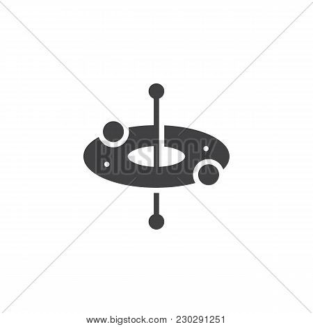 Atom Round Structure Vector Icon. Filled Flat Sign For Mobile Concept And Web Design. Electron Orbit
