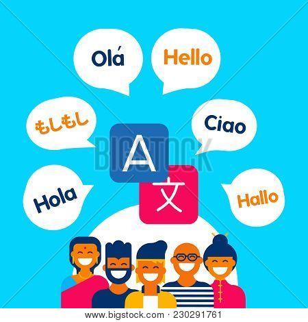 Diverse Ethnic People Group Using Translation App