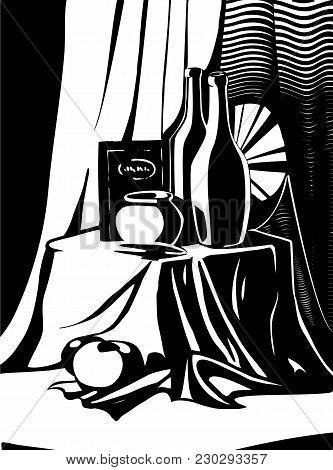 Vector Illustration Of Black And White Classical Still Life Staging With Drapery, Vase, Bottles Of W