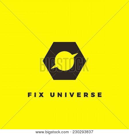 Vector Minimalist Logotype Of Planet Inside Screw-nut. Black Logotype For Repair Service.