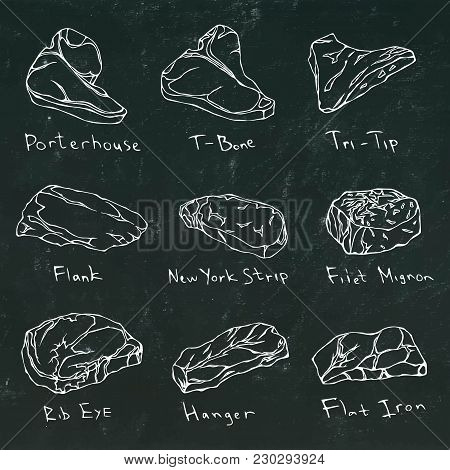 Steak Types Set. Beef Cuts On A Black Board. Meat Guide For Butcher Shop Or Steak House Restaurant M