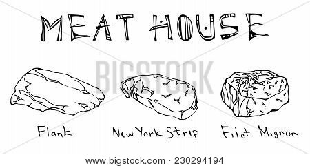 Most Popular Steak Types Set. Beef Cuts. Top Meat Guide For Butcher Shop Or Steak House Restaurant M