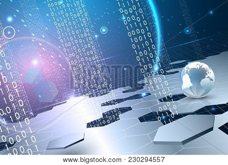 Abstract Universe Theme. Including Stars, Hexagon Segments, Space With Violet Glow, Solar Panels. Us
