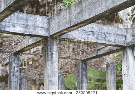 Old Abandoned Building Reinforced Concrete Structures In The Jungle