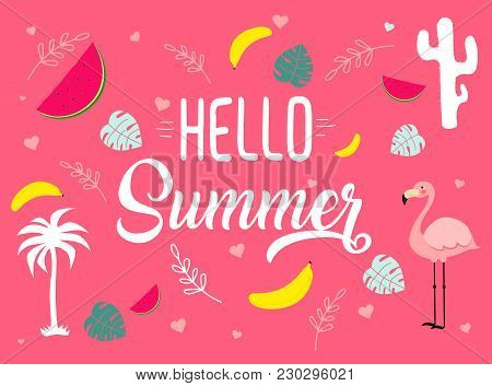 Vector Image With Different Icons. Hello Summer Tagline