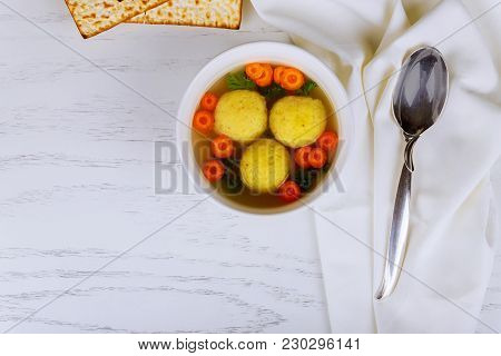 Delicious Matzoh Ball Soup With Traditional Chicken Matzo Ball Soup Served In A Decorated Plate