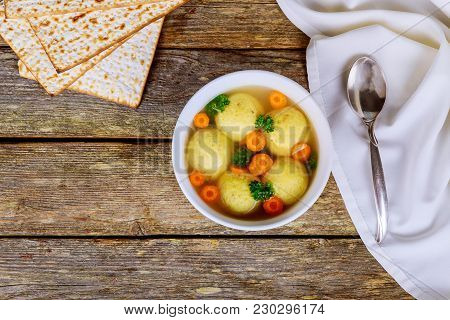 Hot Homemade Matzo Ball Soup In A Bowl Passover Jewish Holiday Food - Matzah Balls Soup