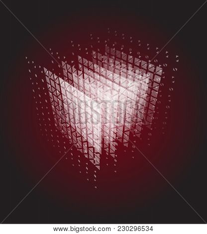 Abstract Cube Of Particles, Computer Computation Power Vector Illustration. Data Center, Bigdata, Se