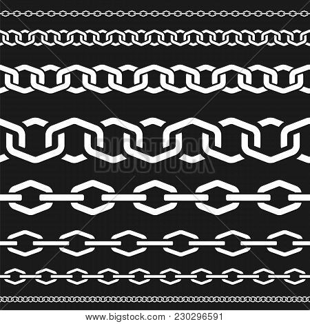 Different Scale Chains, Protection Seamless Pattern, Fencing White Vector Design Element Silhouette