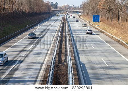 Fuerth / Germany - March 4, 2018: Traffic On German Highway 73 Near Fuerth, Germany