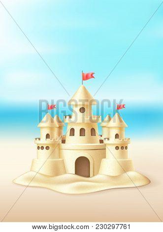 Vector Realistic Sand Castle With Towers, Flags On Beach Coast Coastline, Seaside, Seashore Backgrou
