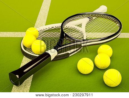 Tennis Rackets With Balls On Green Court Background. 3d Illustration