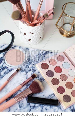 Cosmetics. Makeup. Dressing Table. Home Decor. Candle, Eyeshadow, Makeup Brushes Lipstick Powder Rad